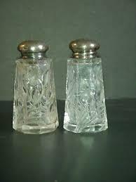 salt pepper shakers cut glass flowers