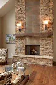 living room stacked stone fireplace