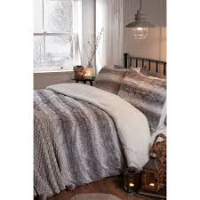 faux fur king size duvet set grey