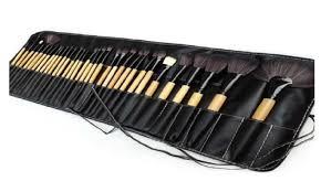 makeup brush set soft black pouch bag