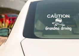 Caution Grandma Driving Window Decal Grandma Driving Vinyl Window Decals Truck Decals Bumper Stickers