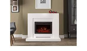 smooth white surround led fireplace