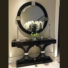 o shaped mirrored console table with