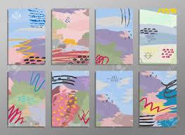 Conjunto De La Mano Abstracta Dibujar Tarjetas Universales