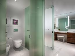 spa bathroom with glass partition walls