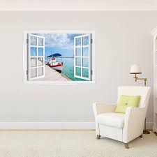 Boat At Dock Faux Window Mural