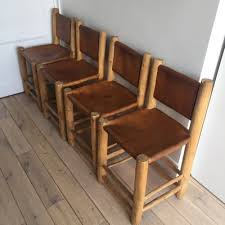 leather wood dining chairs 1970s