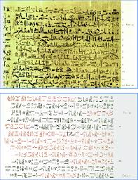 The Edwin Smith Papyrus: a) Case 39 of the original in hieratic. b ...