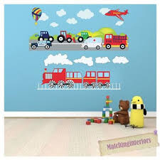 Cartoon Fire Truck Engine Car Vinyl Wall Decal Sticker Kids Boys Bedroom Nursery