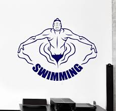 Sport Vinyl Wall Decal Swimming Pool Swimmer Water Sports Word Logo Stickers Boys Room Decor Removable Gym Wall Sticker S226 Stickers Boy Wall Stickervinyl Wall Decals Aliexpress