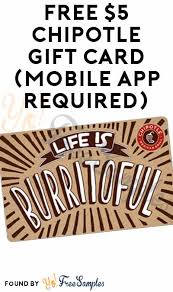 free 5 chipotle gift card mobile app