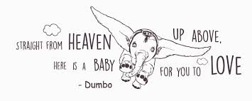 Dumbo Quote Wall Decal Dumbo Nursery Straight From Heaven Walt Disney Lettering Vinyl Sticker Disney Quote Decal Baby Room Wall Stickers Murals