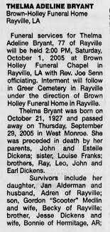 Thelma Adeline Dickens Medlin Bryant obit part 1 - Newspapers.com
