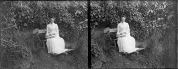 Lydia Myrtle Williams reading book on bench in garden, location ...