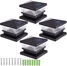 Fence Post Solar Lights Outdoor 4 Pack Post Caps Solar Deck Lights For 5x5 4x4 Wooden Posts Led Warm White Solar Powered For Deck Or Patio Decoration 4 Pack Amazon Co Uk Lighting