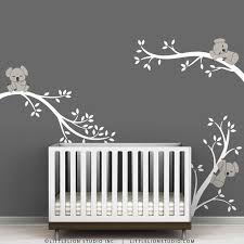 White And Warm Gray Baby Koala Decal By Littlelion Studio Koala Tree Branches Baby Room Wall Art Childrens Wall Decals Nursery Room Decor
