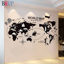 Best Promo F2c56a Large Size World Map Wall Stickers Black Map Of The World Home Decor For Kids Room Travel Airplane Wall Decals For Bedroom Cicig Co