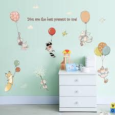 Brillint Yy Nursery Wall Sticker Cartoon Cute Pink Rabbits Dancing Wall Art Decals Pvc Sticker For