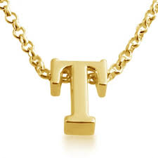 gold plated necklace initial letter t
