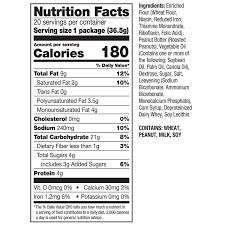 peanut er ers nutrition label