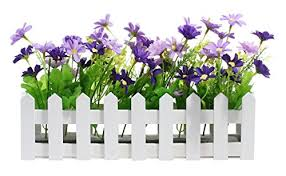 Decorative Wooden Picket Fence Window Box Flower Box With Artificial Daisies Purple Violet 11 7 X7 4 X2 92 Kitchen Dining B01lyr3iyn
