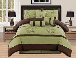 7 piece sage brown bed in a bag with