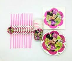 Minnie Mouse Birthday Decoration Party Tableware Straws Cups Plates Napkins Ebay