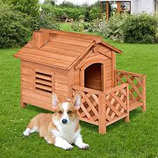 Tangkula Pet Dog House Wooden Dog Room With Porch Fence Raised Vent And Balcony For Outdoor Indoor Use Pet House Shelter For Puppies And Dogs Wood Dog House Dog Kennel