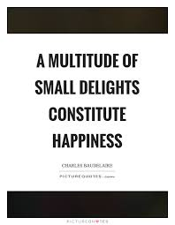 a multitude of small delights constitute happiness picture quotes