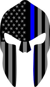 Thin Blue Line American Flag Spartan Helmet Decal Sticker 03