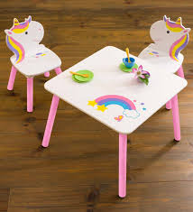 Rainbow Unicorn Table And Chairs Playroom Furniture Set Magiccabin