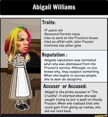 Abigail Williams Traits: ~l7 years old ~Reverend Parrís's niece ...