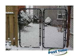 Double Chain Link Gates On Wood Posts For Back Yard Chain Link Fence Fence Farm Gate