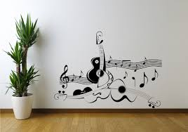 Guitar Music Note Symbol Violin Wall Art Sticker Decal Mural Stencil Musical Background And Piano Keys Music Notes Wall Art Mural Stencil Music Wall Stickers