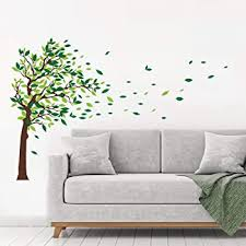 Amazon Com Decalmile Green Tree Wall Stickers Flying Leaves Wall Decals For Home Living Room Bedroom Sofa Backdrop Tv Wall Decoration L H 34 Inches Arts Crafts Sewing