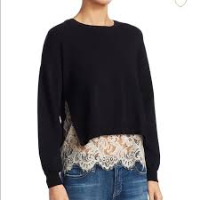 Alice + Olivia Sweaters | Alice And Olivia Iva Long Sleeve Lace Sweater |  Poshmark