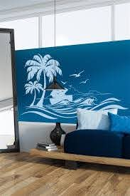 Wall Decals Tropical Island Sunset Hawaiian Trees And Waves Walltat Com Art Without Boundaries