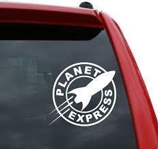 Amazon Com Black Heart Decals More Futurama Planet Express Ship Vinyl Decal Sticker Color White 5 X 5 3 Automotive