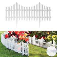 4 White Plastic Wooden Effect Lawn Border Edge Garden Edging Picket Fencing Set Ebay
