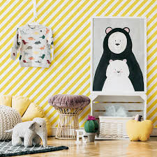 Yellow Diagonals Wallpaper For Kids Room Interior By Livettes
