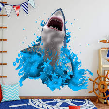 Vwaq Breaching Great White Shark Wall Decal Kids Room Stickers Na08