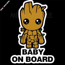 Baby Groot On Board 100x145mm Guardians Of The Galaxy Vinyl Decal Sticker Bumper Ebay