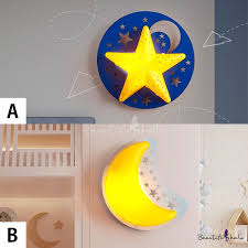Wooden Star Moon Wall Lamp Kids Nursing Room Single Light Led Wall Light Sconce In Yellow Takeluckhome Com