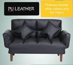 2 seater sofa bed pu leather black