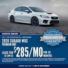 2020 subaru wrx special offers save