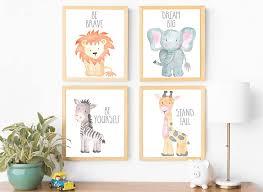 Nursery Wall Art Animal Paintings Set Of 4 Safari Nursery Baby Kids R Sugar Plum Avenue Llc