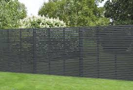 1 8m X 1 8m Grey Painted Contemporary Slatted Fence Panel Forest Garden