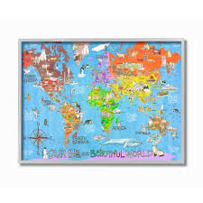 The Kids Room By Stupell Our Big Beautiful World Map Framed Wall Art By Marley Ungaro Walmart Com Walmart Com