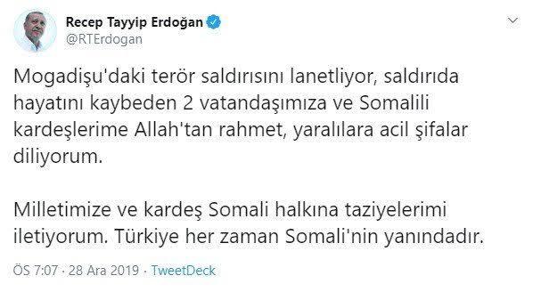 Cumhurbaşkanı Erdoğan'dan Somali'ye destek; Her zaman yanınızdayız