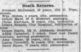 Jacob Bauer - Death Return - 13 March 1899 - Indianapolis News ...